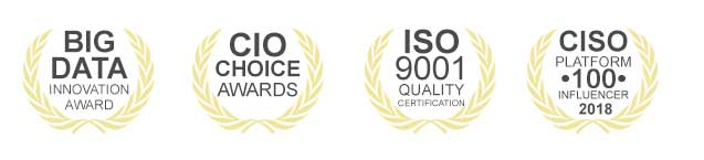 Rediff Awards: Big Data Innovation Award, CIO Choice Award, ISO:9001 Quality Certification, CISO Platform Influencer Award